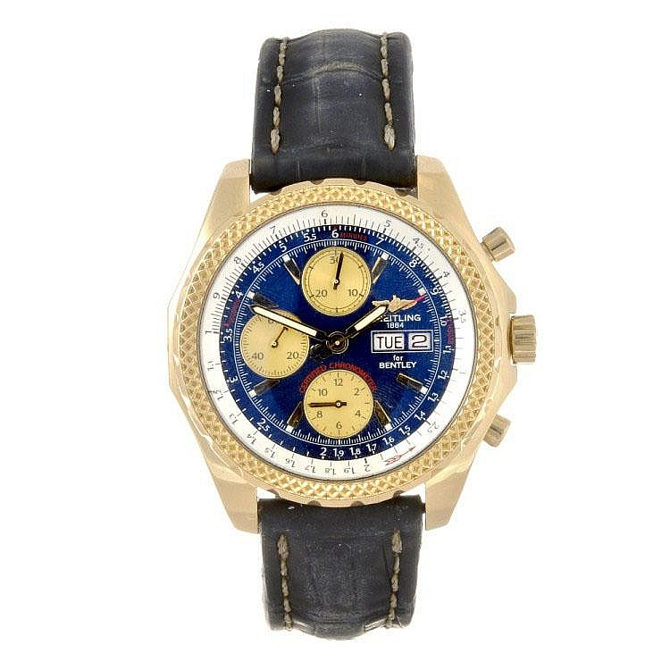An 18k gold automatic chronograph gentleman's Breitling for Bentley wrist watch.