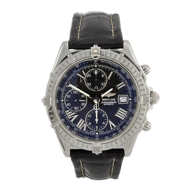 A stainless steel automatic gentleman's Breitling Windrider Crosswind chronograph wrist watch.