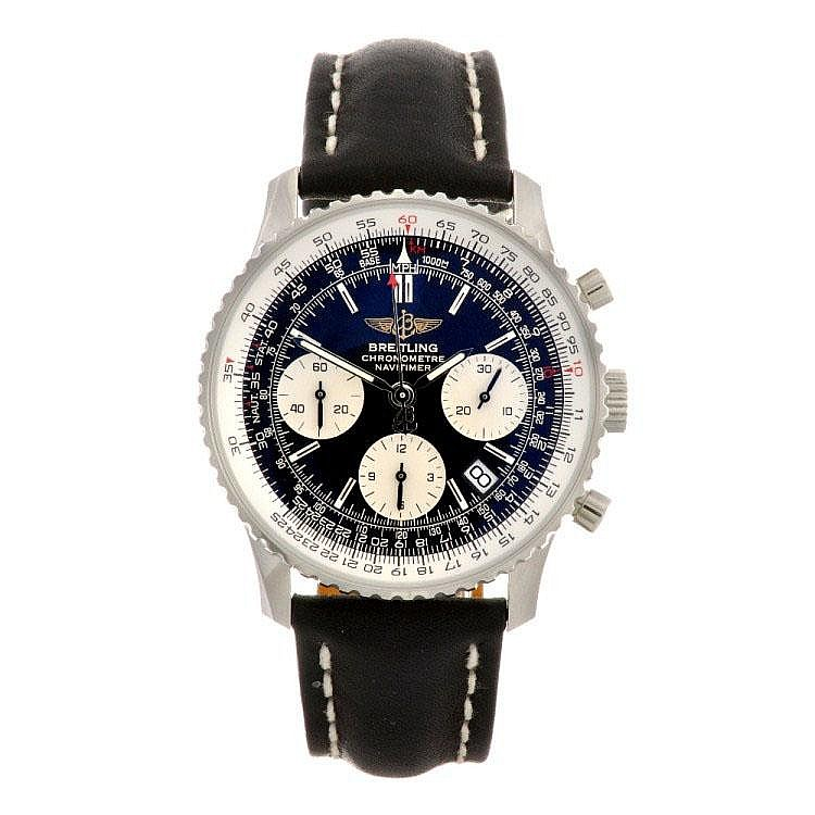 A stainless steel automatic gentleman's Breitling Navitimer wrist watch.