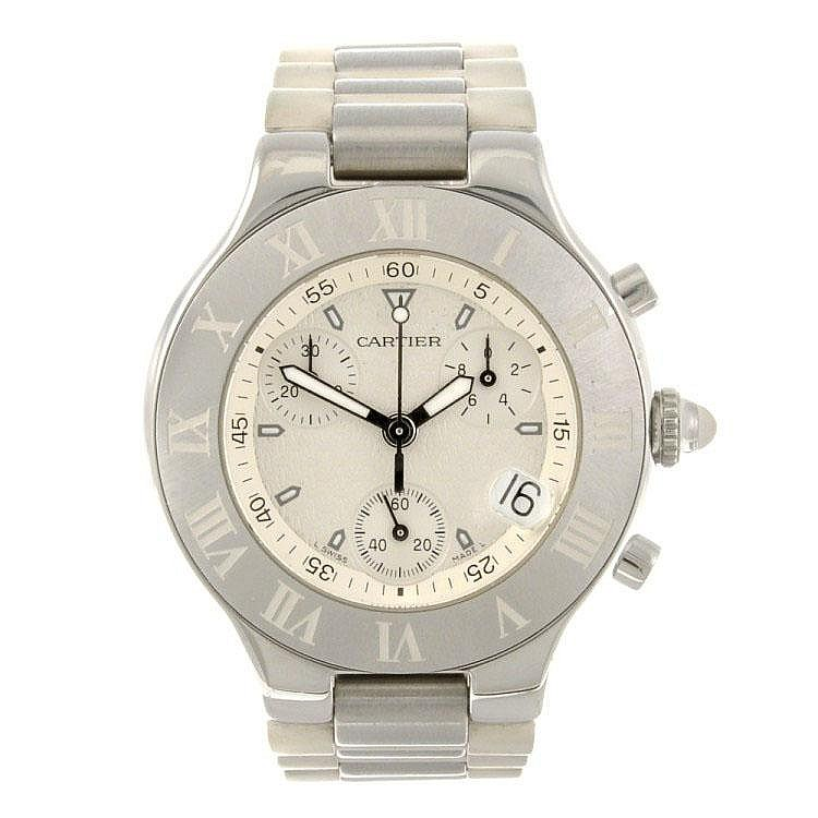 A stainless steel quartz chronograph Cartier Chronoscaph 21 wrist watch.