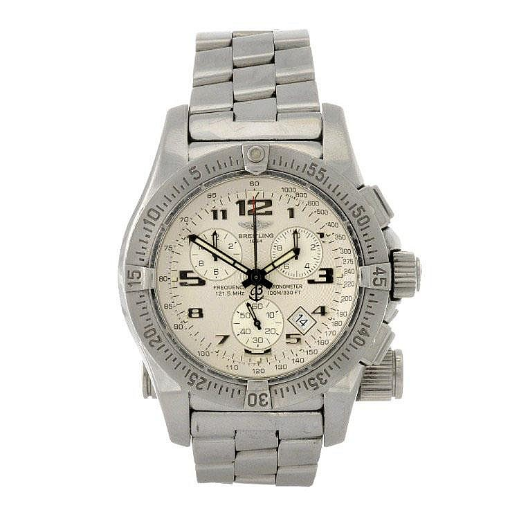 A stainless steel quartz gentleman's Breitling Emergency Mission bracelet watch.