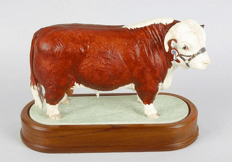 A Royal Worcester limited edition Hereford bull modelled by Doris Lindner