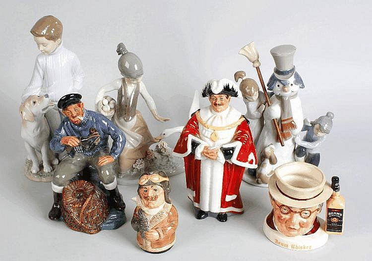 Two Doulton figures, two Doulton jugs and three Lladro figures