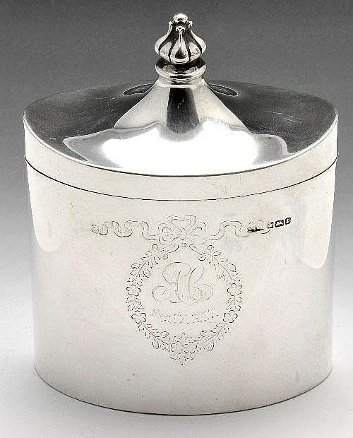 Edwardian silver tea caddy.