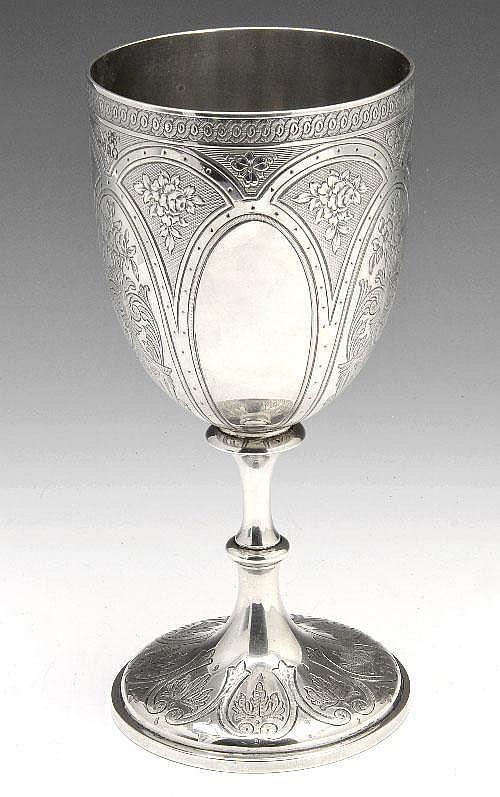 Victorian silver goblet.