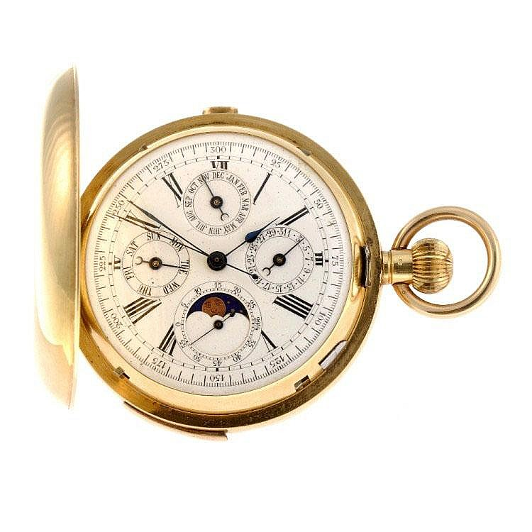 An 18k gold keyless wind full hunter quarter repeater pocket watch.