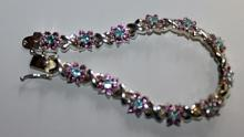 Beautiful Silver Royal Blue Topaz & Pink Sapphire Bracelet.