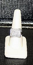Lady's Very Fancy 18 kt White Gold over Sterling Silver Diamond Ring. JA2413