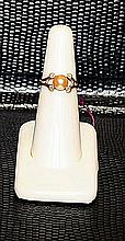 Lady's Beautifull 18 kt Yellow Gold over Sterling Silver Golden Baroque Pearl Ring.JA2389
