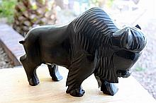 Black Onyx Buffalo Sculpture by Gabino (N)