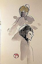 Original Hand Signed Watercolor by Artist Toulis Lautrec