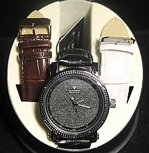 Men's Very Fancy Diamond Maxx Watch with exchangable Leather Strap. (411J)
