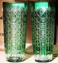 (PAIR) Green Turkey Crystal Vase