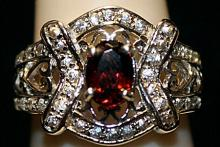 Gorgeous Lab Ruby with Tanzanites SS Ring. (251L)