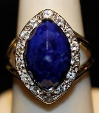 Gorgeous Royal Blue Topaz & Rose Garnets SS Ring. (246L)