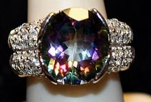 Fancy Rainbow Tourmaline & White Sapphires SS Ring. (200L)
