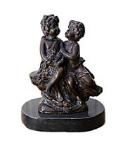 Bronze Sculpture -  Boy and Girl Talking (N-196E)