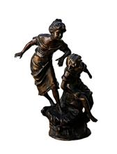 Bronze Sculpture -  Children looking at the water (N-206E)