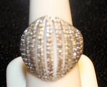 Very Fancy Sterling Silver Diamond Cluster Ring