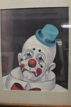 Original 1947 By Red Skelton- Sad Face Clown Transfer on Canvas