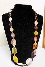 LADIES GORGEOUS AGATES, TIGER EYE, QUARTZ AND AMETHYST NECKLACE