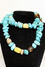 LADIES GORGEOUS NEVADA BLUE TURQUOISE, TIGER EYE AND AGATES NECKLACE