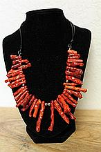Red Coral with Silver Balls Necklace