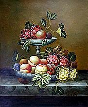 Original Oil on Canvas. Grapes and Peaches by C. Freeman