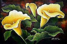 Original Oil on Canvas. Yellow Lilies by Rossiter