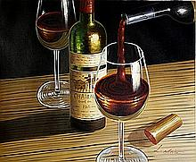 Original Oil on Canvas. Wine by L. Whin