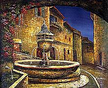 Original Oil on Canvas. Fountain at Night by P. Hunter