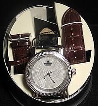 Men's Very Fancy Diamond Maxx Watch with exchangable Leather Strap. (422J)