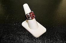 Lady's Beautifull 18 kt White Gold over Sterling Silver Lab Pink& White Sapphire Ring.JA2395