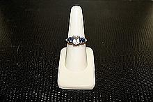 Unisex Beautifull 18 kt White Gold over Sterling Silver Sapphire Ring. JA2442