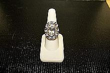 Lady's Beautifull 18 kt White Gold over Sterling Silver Sapphire & Diamond Ring. JA2397