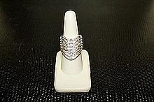 Lady's Beautifull 18 kt White Gold over Sterling Silver Golden Sapphire & Diamond Ring. JA1513