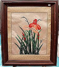 Original Hand Woven Thread Art on FRAMED Silk Paper (N)