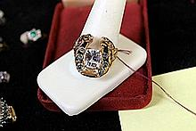 Lady's 18K Yellow Gold White Topaz/Cats's Eye/RuBy Ring (9)