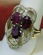 Lady's 10K Yellow Gold Rubies Diamond Ring(11)