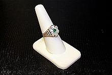 Ladys' 10K Yellow Gold Lab Emerald/ Diamond Ring (46)
