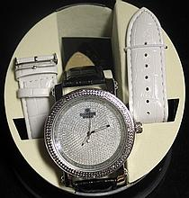 Men's Very Fancy Ice Diamond with Exchangable Leather Strap. (419J)