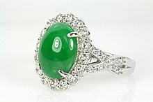 Natrual Jade and Diamond Ring