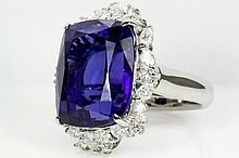 Cushion Cut Tanzanite of 24.34ct and Diamond Ring