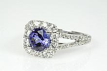 Round Tanzanite and Diamond Ring
