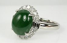 Natural Jade and Diamond Ring