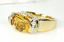 Oval Citrine and Diamond Ring
