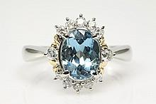 Oval Aquamarine and Diamond Ring 1.65ct