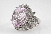 Kunzite and Diamond Dress Ring