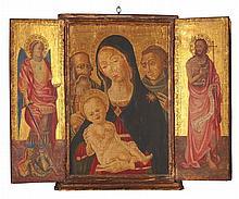 ITALIENISCHE SCHULE DES 19. JH. IN DER ART DES 15. JH., , Triptychon: Die Hl. Familie mit dem hl. Antonius