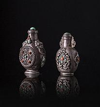 Two silver snuff bottles